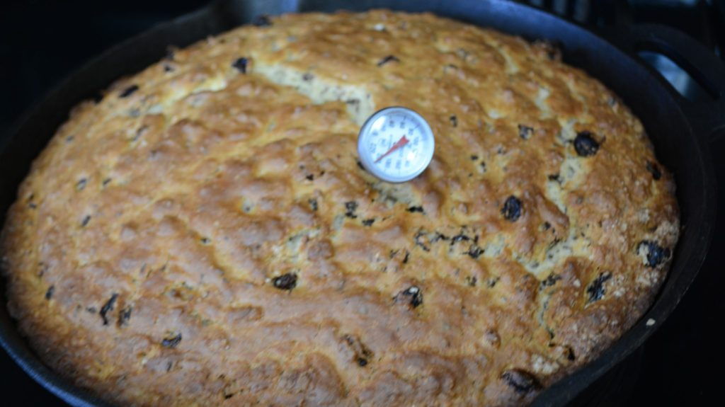 Irish Soda bread with thermometer inserted.